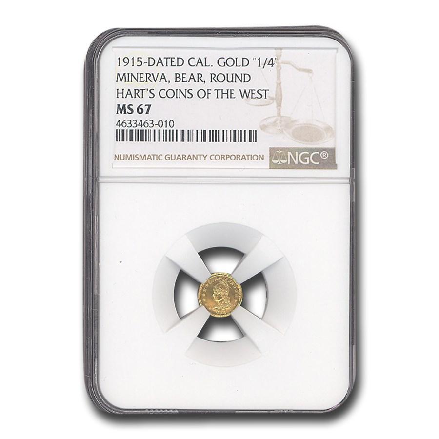 1915 Minerva Round 1/4 Dollar Gold MS-67 NGC