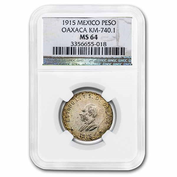 1915 Revolutionary Mexico Silver Peso MS-64 NGC (Oaxaca)