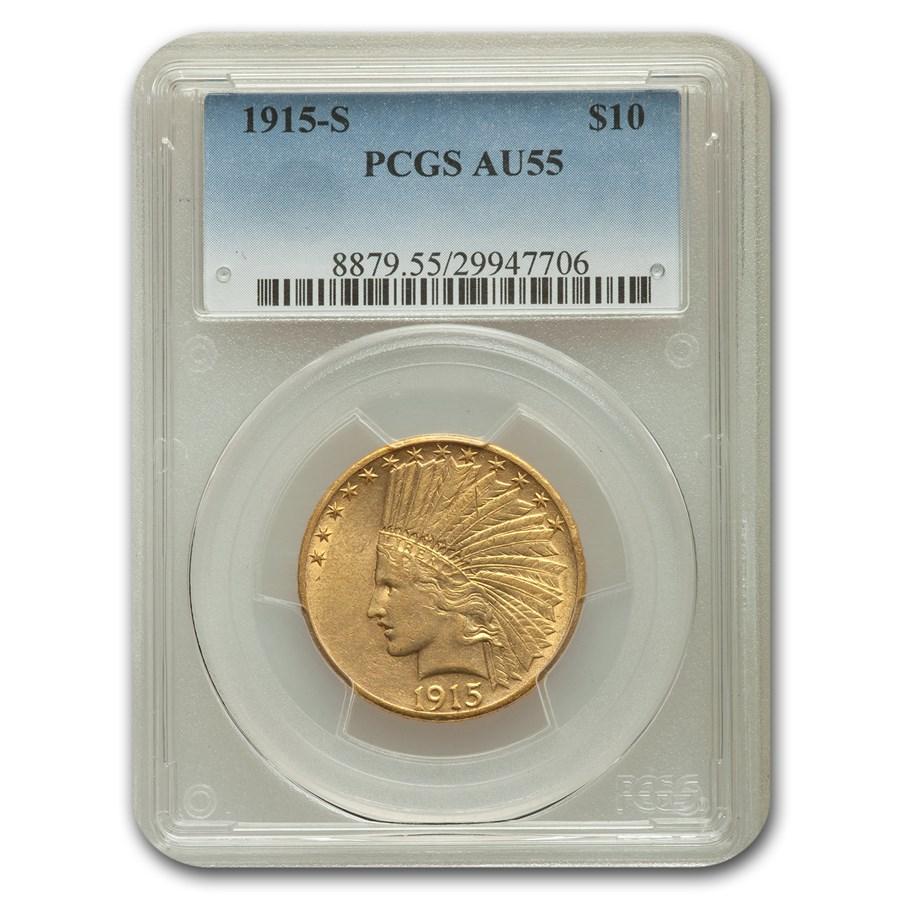1915-S $10 Indian Gold Eagle AU-55 PCGS