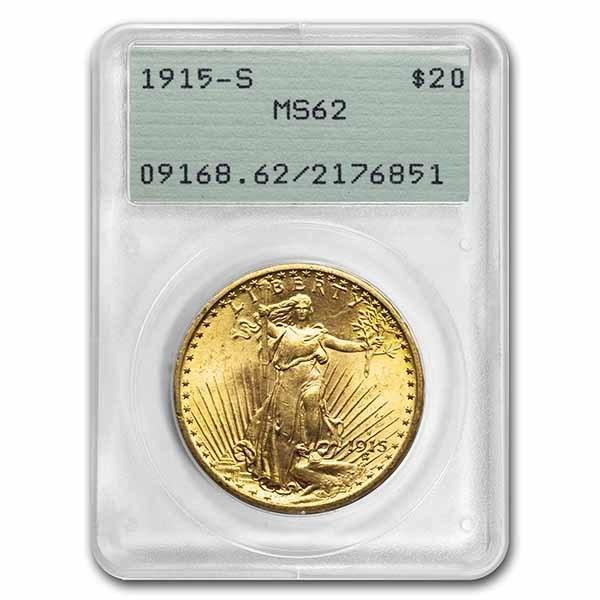 1915-S $20 Saint-Gaudens Gold Double Eagle MS-62 PCGS (Rattler)