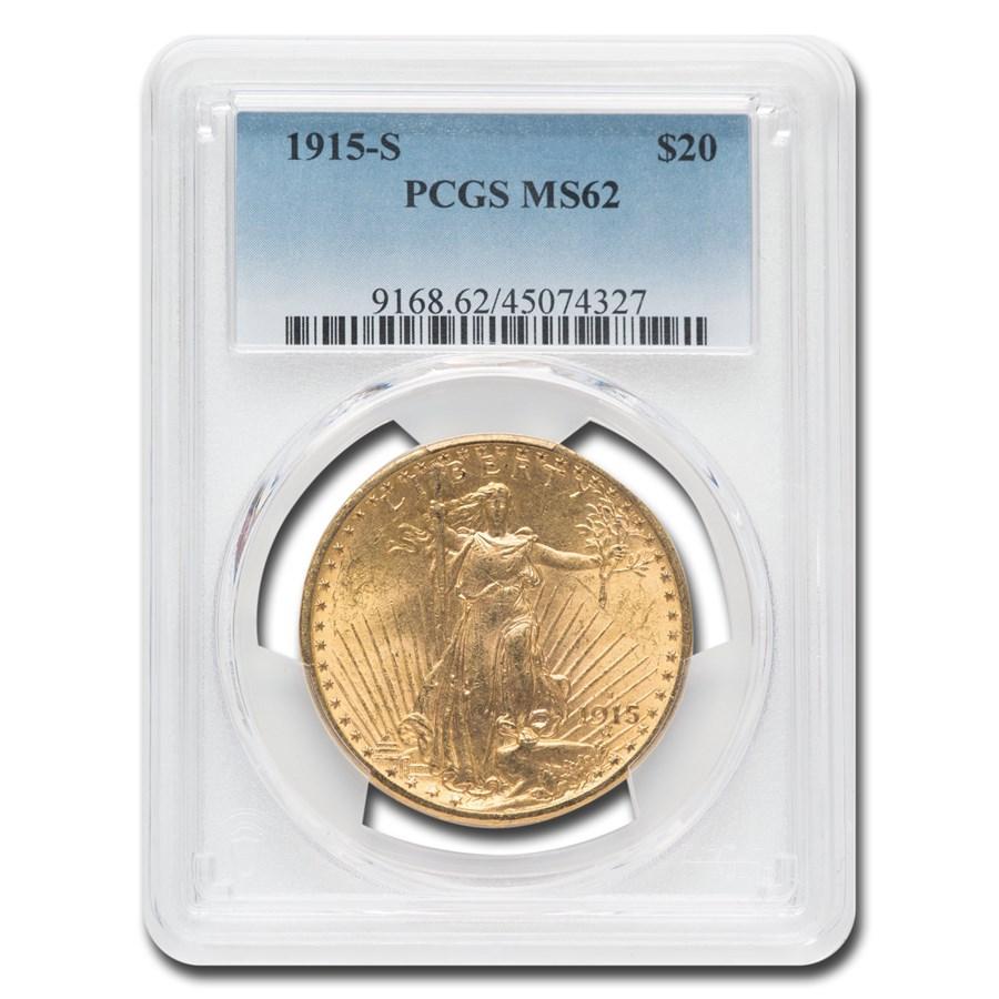 1915-S $20 Saint-Gaudens Gold Double Eagle MS-62 PCGS