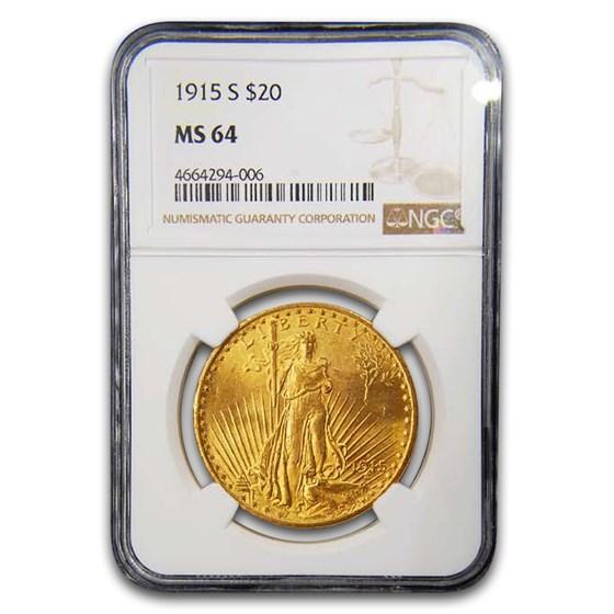 1915-S $20 Saint-Gaudens Gold Double Eagle MS-64 NGC