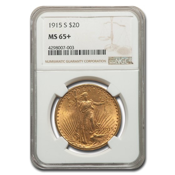 1915-S $20 Saint-Gaudens Gold Double Eagle MS-65+ NGC