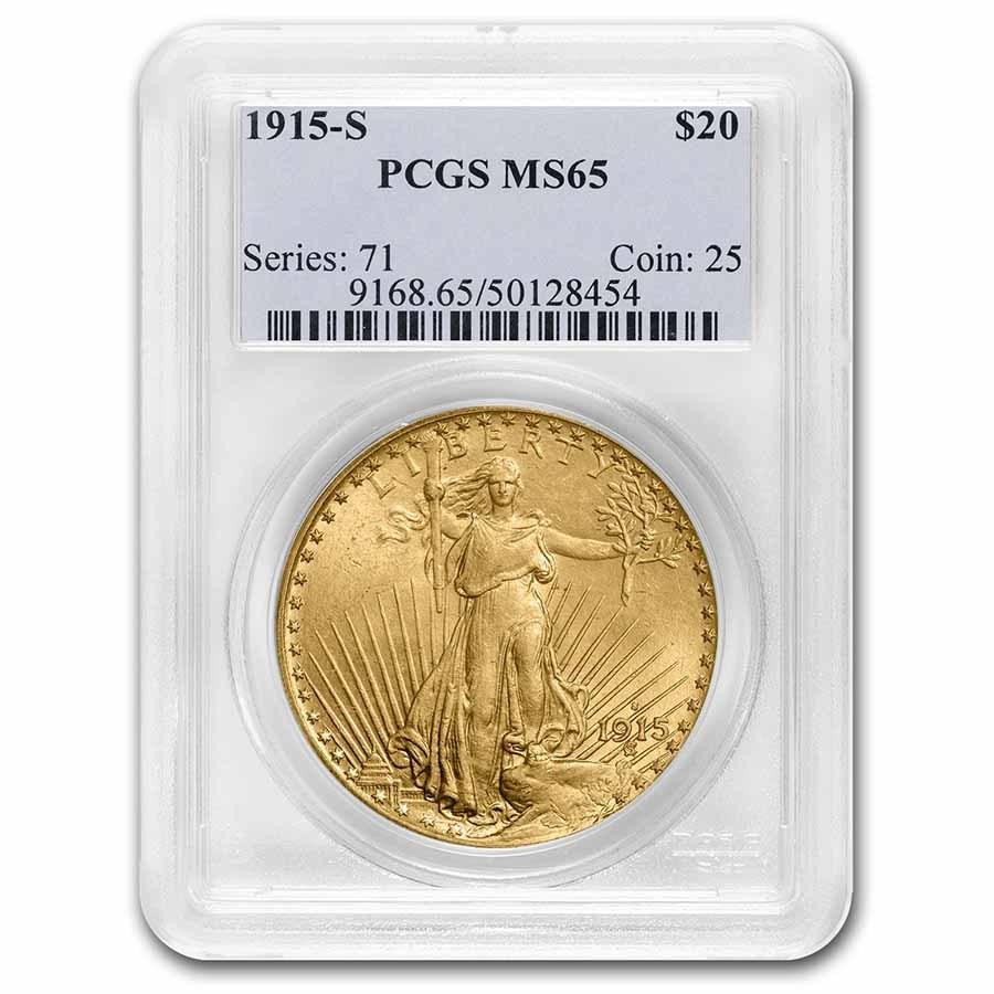 1915-S $20 Saint-Gaudens Gold Double Eagle MS-65 PCGS