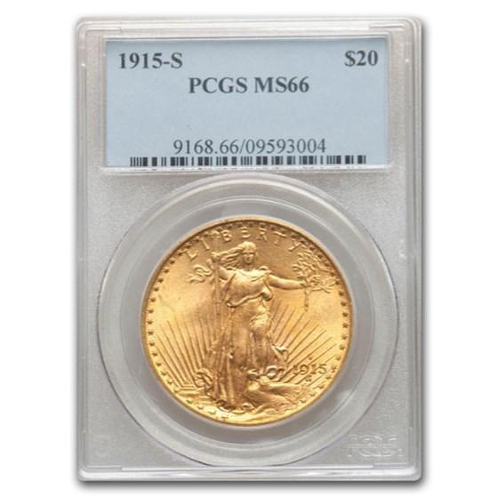 1915-S $20 Saint-Gaudens Gold Double Eagle MS-66 PCGS (San Fran)