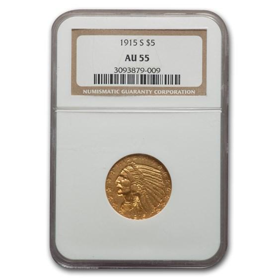 1915-S $5 Indian Gold Half Eagle AU-55 NGC