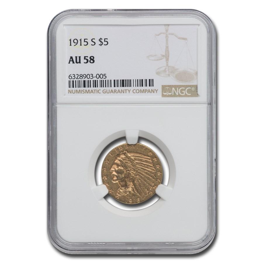 1915-S $5 Indian Gold Half Eagle AU-58 NGC