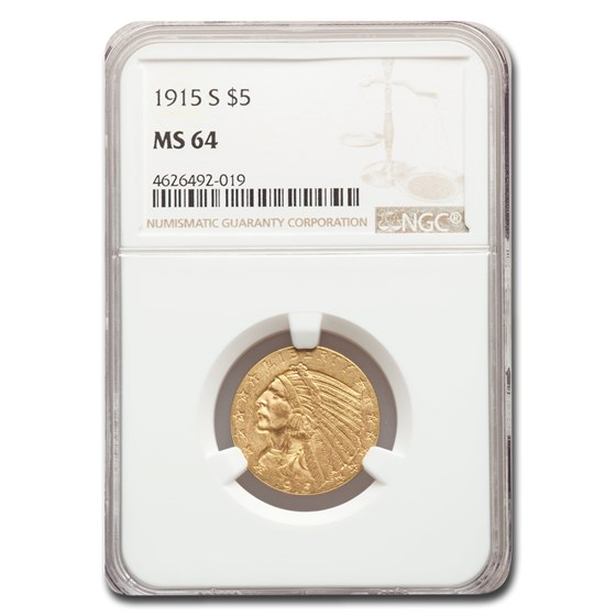 1915-S $5 Indian Gold Half Eagle MS-64 NGC