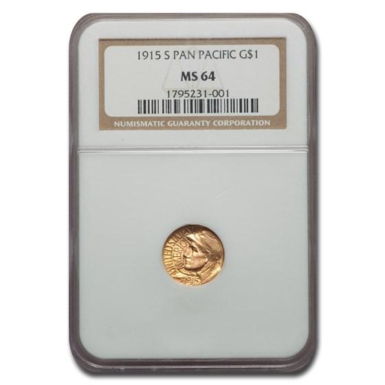 1915-S Gold $1.00 Panama-Pacific MS-64 NGC
