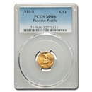 1915-S Gold $1.00 Panama-Pacific MS-66 PCGS