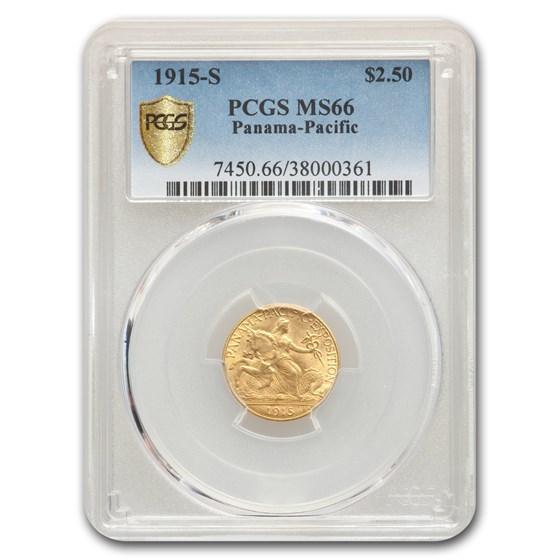 1915-S Gold $2.50 Panama Pacific MS-66 PCGS