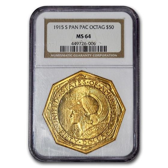 1915-S Gold $50 Panama-Pacific Octagonal MS-64 NGC