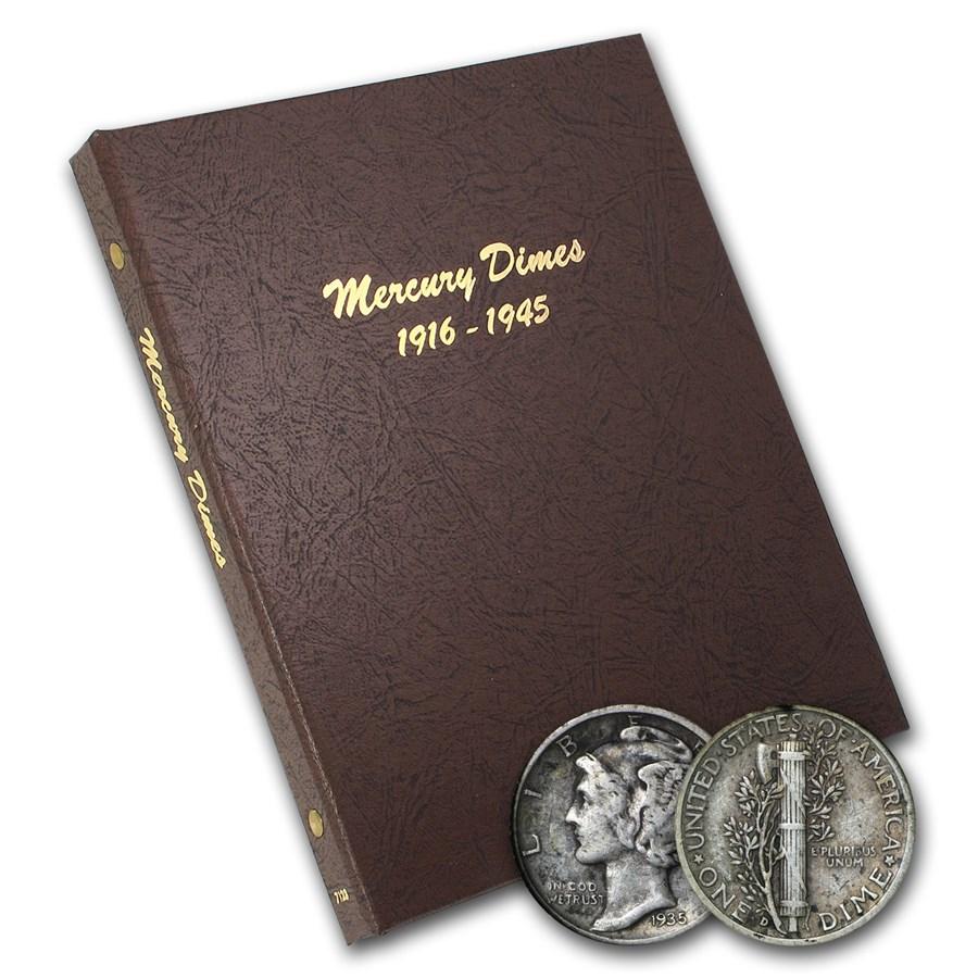 1916-1945 Complete Mercury Dime Set in Dansco Album