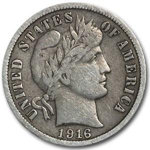 1916 Barber Dime VF
