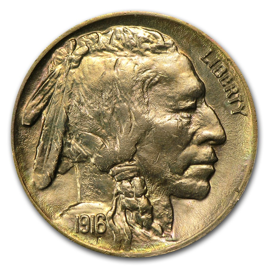 1916 Buffalo Nickel BU Details (Cleaned)