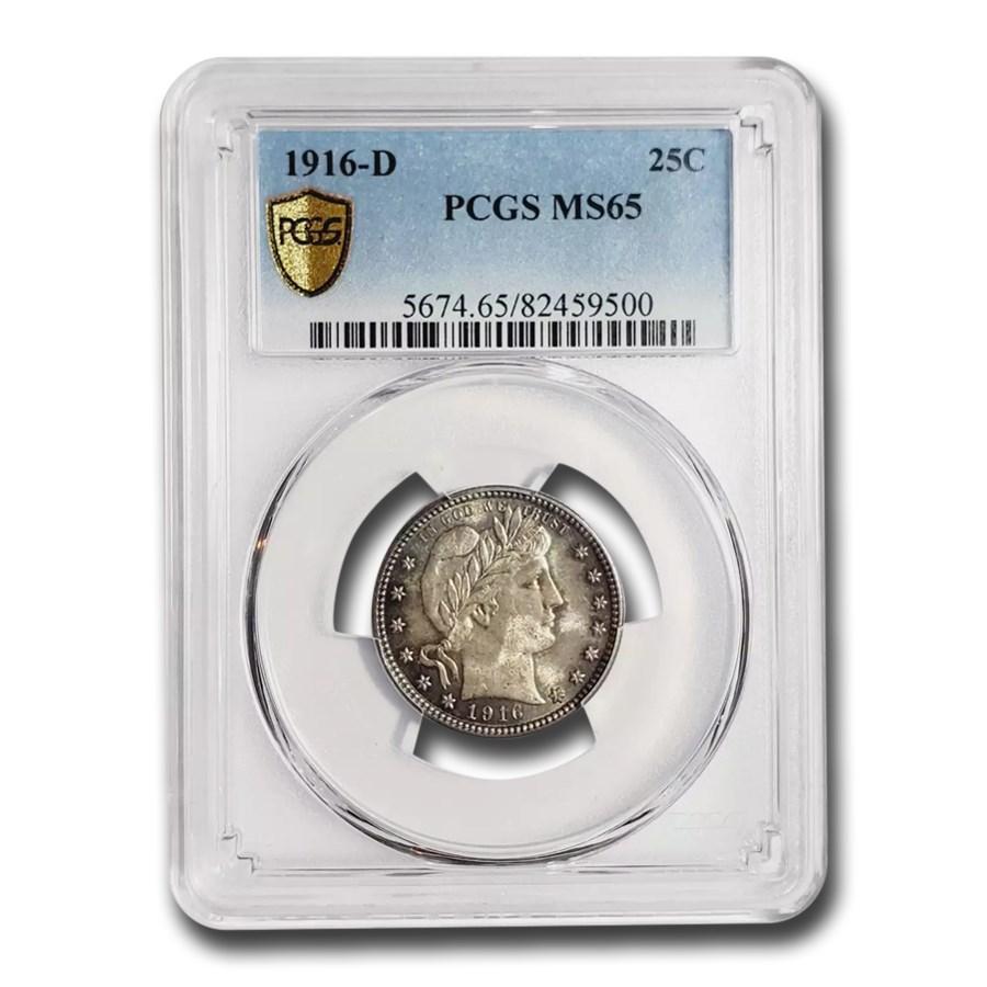 1916-D Barber Quarter MS-65 PCGS