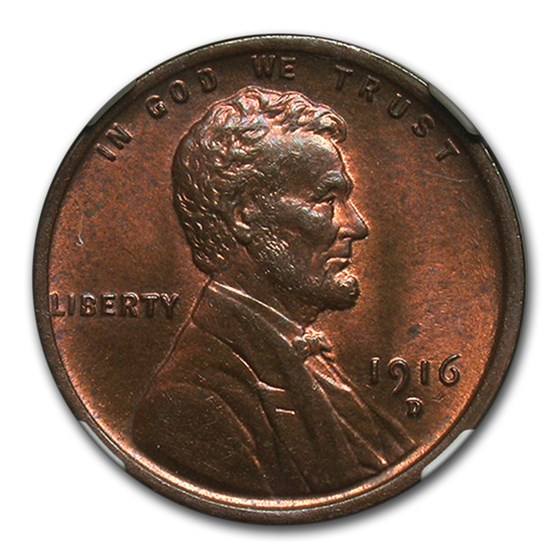 1916-D Lincoln Cent MS-63 NGC (Red/Brown)