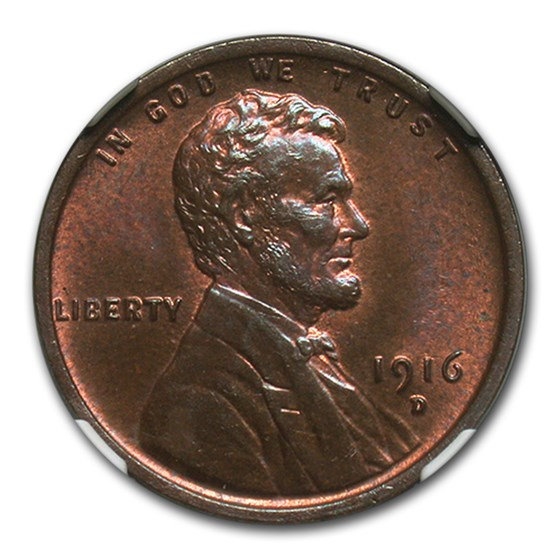 1916-D Lincoln Cent MS-64 NGC (Red/Brown)
