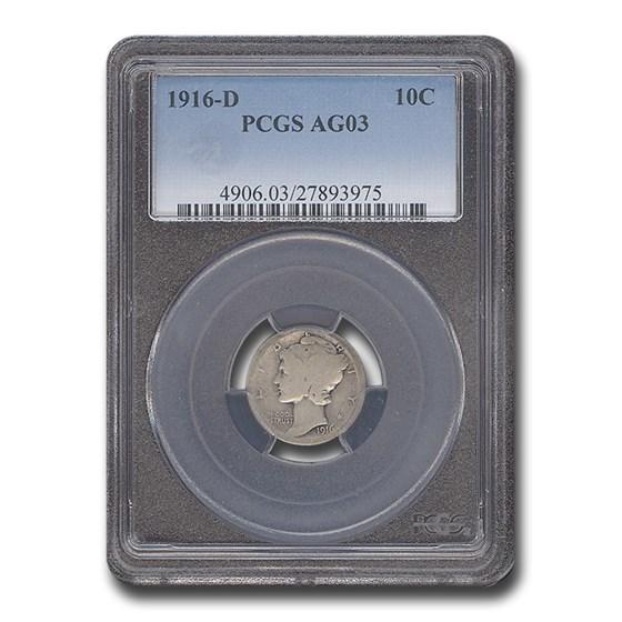 1916-D Mercury Dime AG-3 PCGS