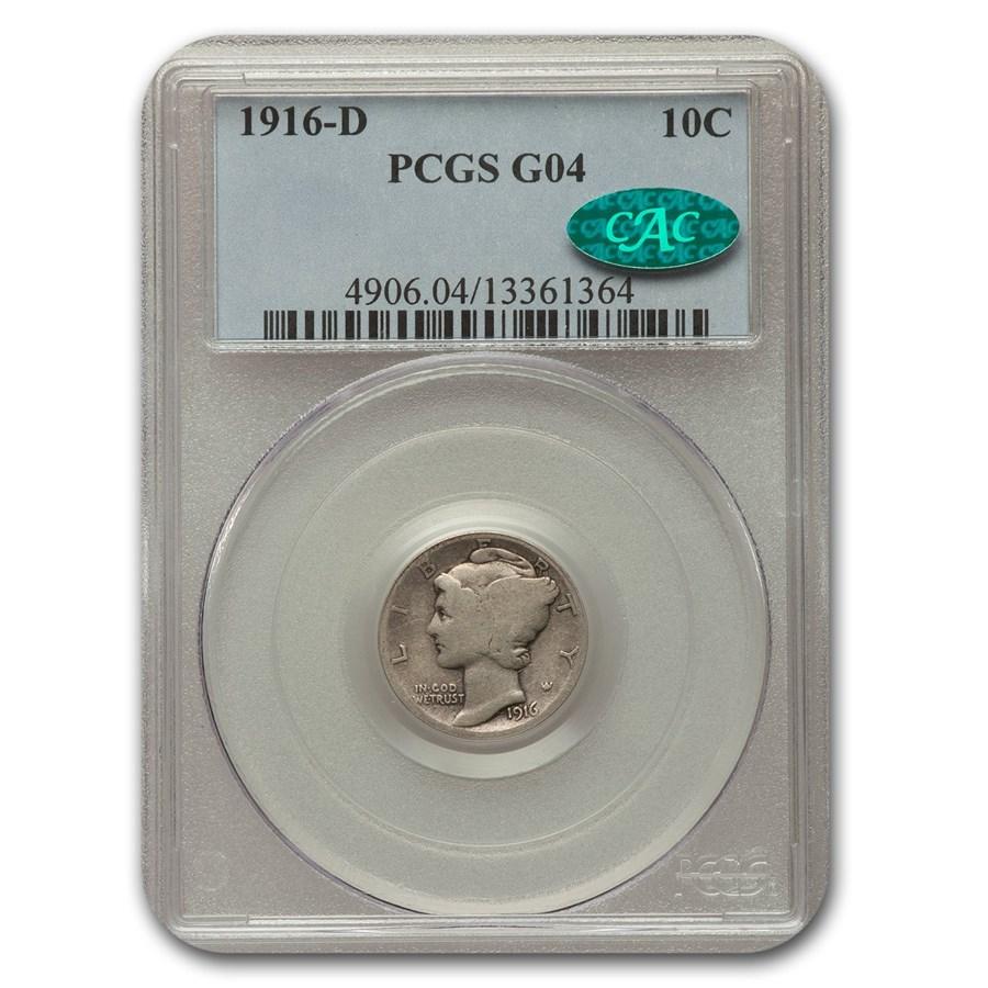 1916-D Mercury Dime Good-4 PCGS CAC