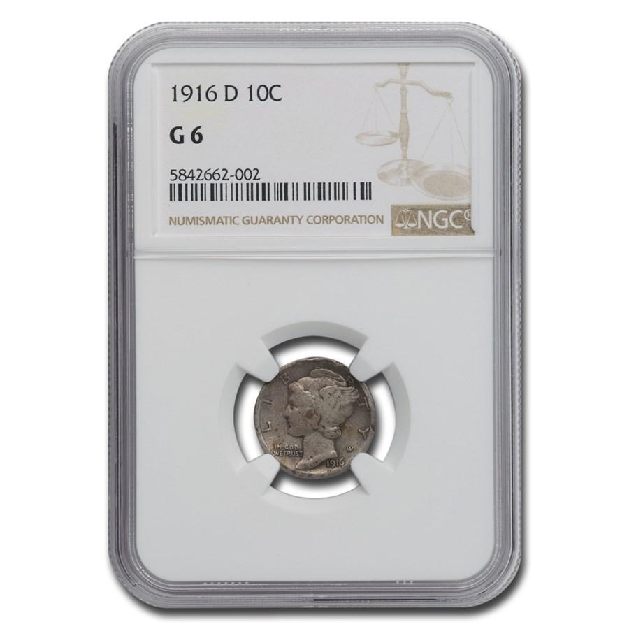 1916-D Mercury Dime Good-6 NGC