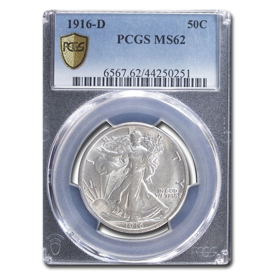 1916-D Walking Liberty Half Dollar MS-62 PCGS