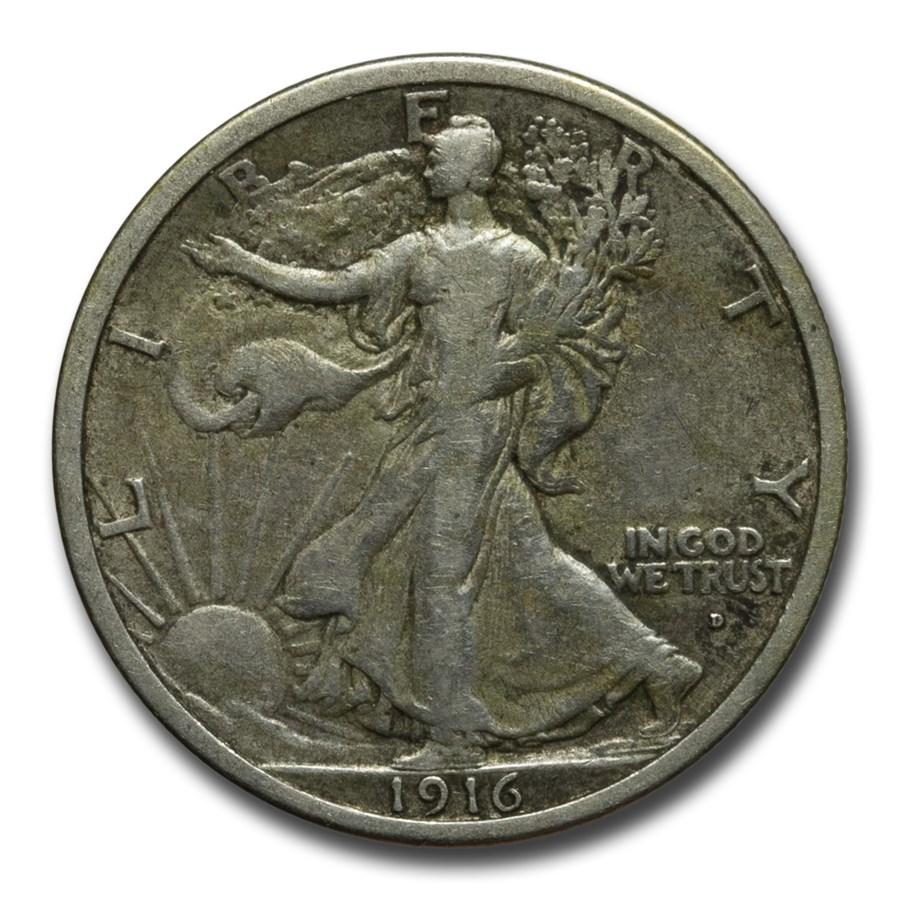 1916-D Walking Liberty Half Dollar VF