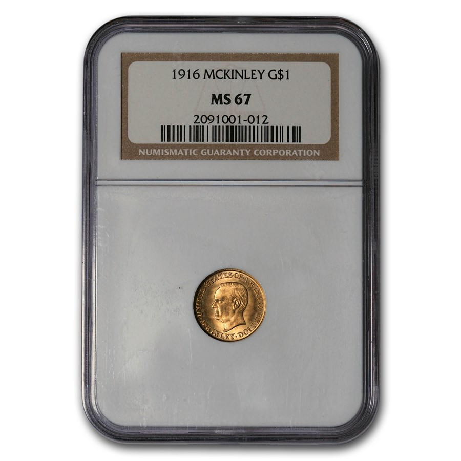 1916 Gold $1.00 McKinley Commem MS-67 NGC