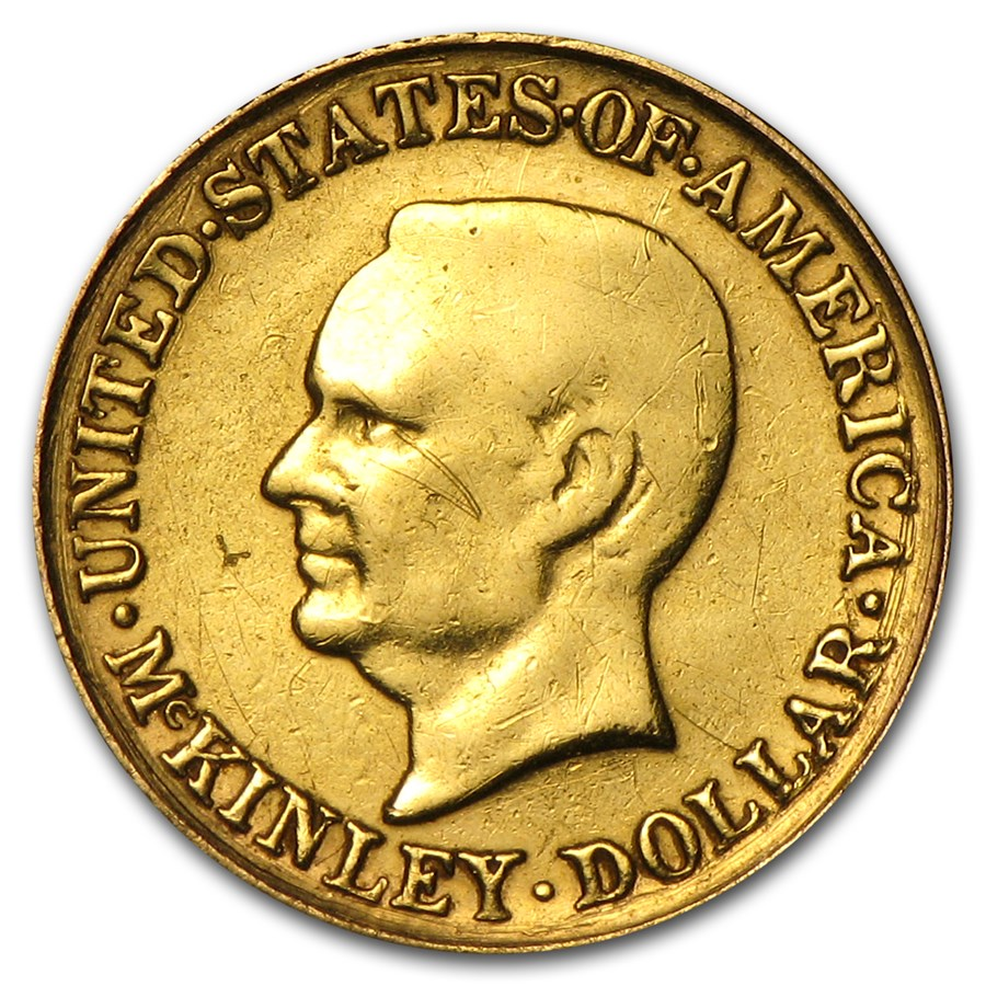 1916 Gold $1.00 McKinley Memorial Dollar VF Details (Cleaned)