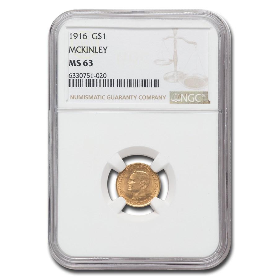 1916 Gold $1.00 McKinley Memorial MS-63 NGC