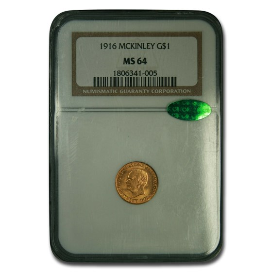 1916 Gold 1.00 Mckinley Memorial MS-64 NGC CAC