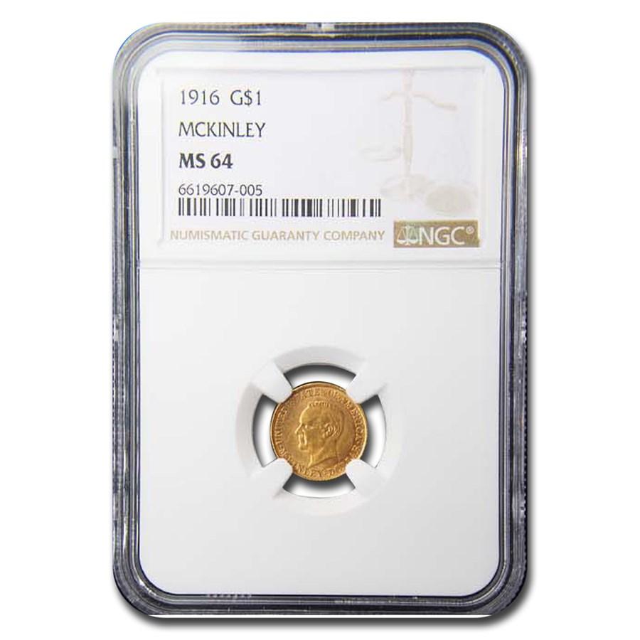 1916 Gold $1.00 McKinley Memorial MS-64 NGC