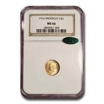 1916 Gold $1.00 McKinley Memorial MS-66 NGC CAC