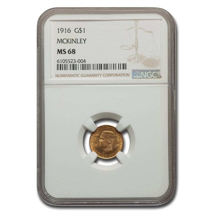 1916 Gold 1.00 Mckinley Memorial MS-68 NGC