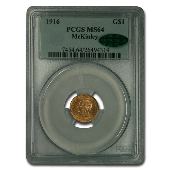 1916 Gold $1.00 McKinley MS-64 PCGS CAC