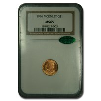 1916 Gold $1.00 McKinley MS-65 NGC CAC