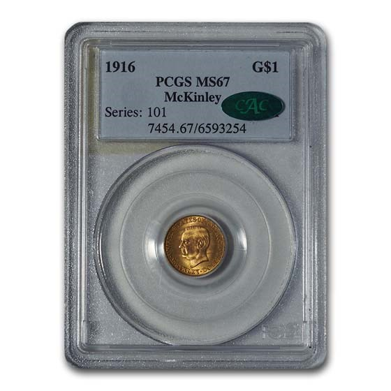 1916 Gold $1.00 McKinley MS-67 PCGS CAC