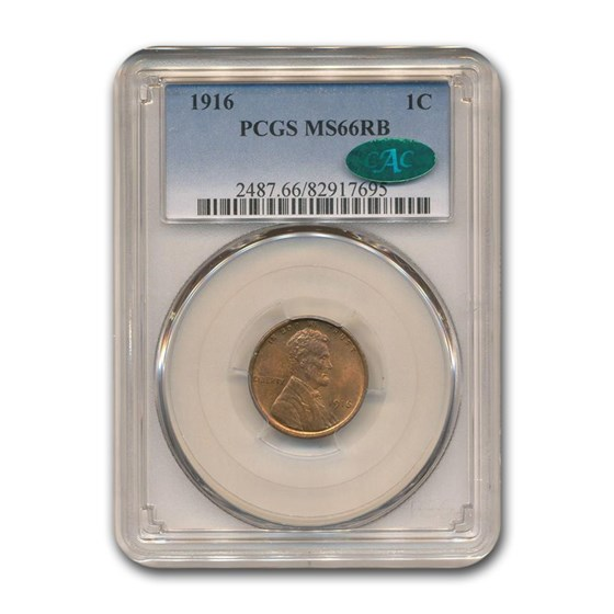 1916 Lincoln Cent MS-66 PCGS CAC (Red/Brown)