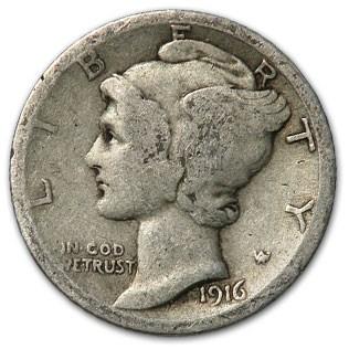1916 Mercury Dime Good/Fine