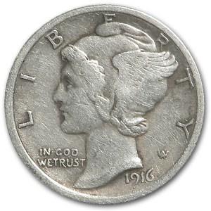 1916 Mercury Dime VF
