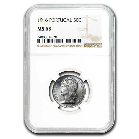 1916 Portugal Silver 50 Centavos MS-63 NGC