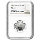 1916 Portugal Silver 50 Centavos MS-64 NGC