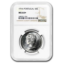 1916 Portugal Silver 50 Centavos MS-64+ NGC