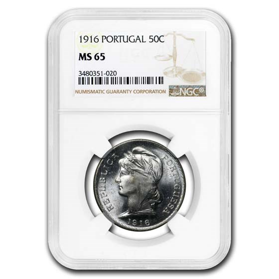 1916 Portugal Silver 50 Centavos MS-65 NGC