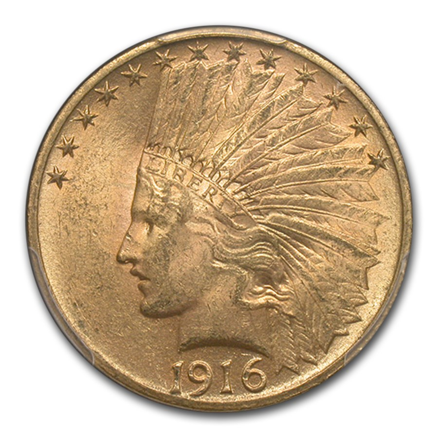 1916-S $10 Indian Gold Eagle MS-62 PCGS CAC