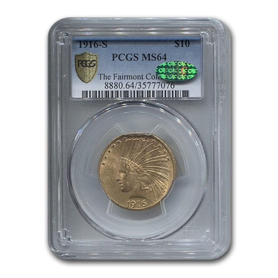 1916-S $10 Indian Gold Eagle MS-64 PCGS CAC