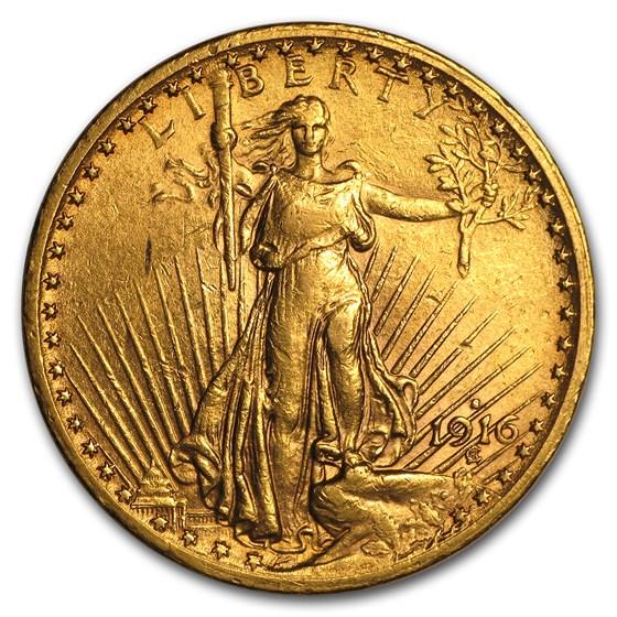 1916-S $20 Saint-Gaudens Gold Double Eagle AU
