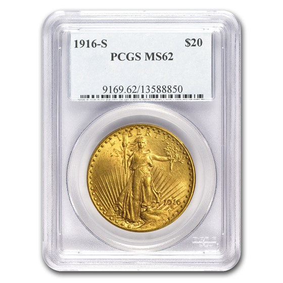 1916-S $20 Saint-Gaudens Gold Double Eagle MS-62 PCGS