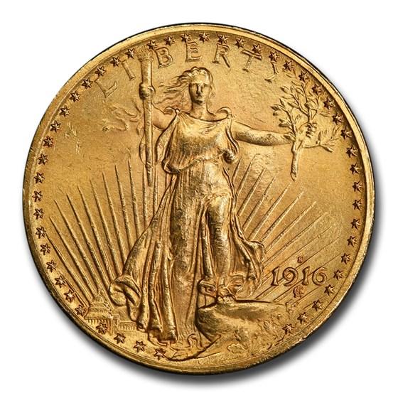 1916-S $20 Saint-Gaudens Gold Double Eagle MS-64 PCGS