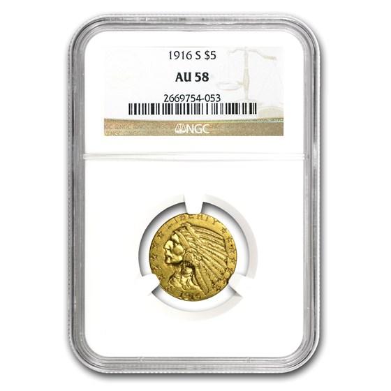 1916-S $5 Indian Gold Half Eagle AU-58 NGC (Strong Mintmark)